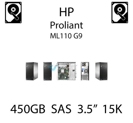 """450GB 3.5"""" dedykowany dysk serwerowy SAS do serwera HP ProLiant ML110 G9, HDD Enterprise 15k, 12Gbps - 737573-001 (REF)"""
