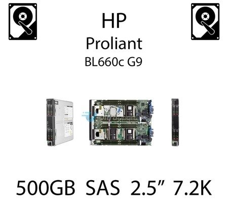 """500GB 2.5"""" dedykowany dysk serwerowy SAS do serwera HP ProLiant BL660c G9, HDD Enterprise 7.2k, 6Gbps - 653953-001 (REF)"""