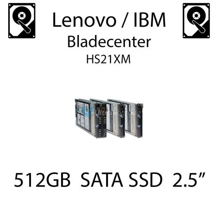"512GB 2.5"" dedykowany dysk serwerowy SATA do serwera Lenovo / IBM Bladecenter HS21XM, SSD Enterprise , 600MB/s - 49Y5844"
